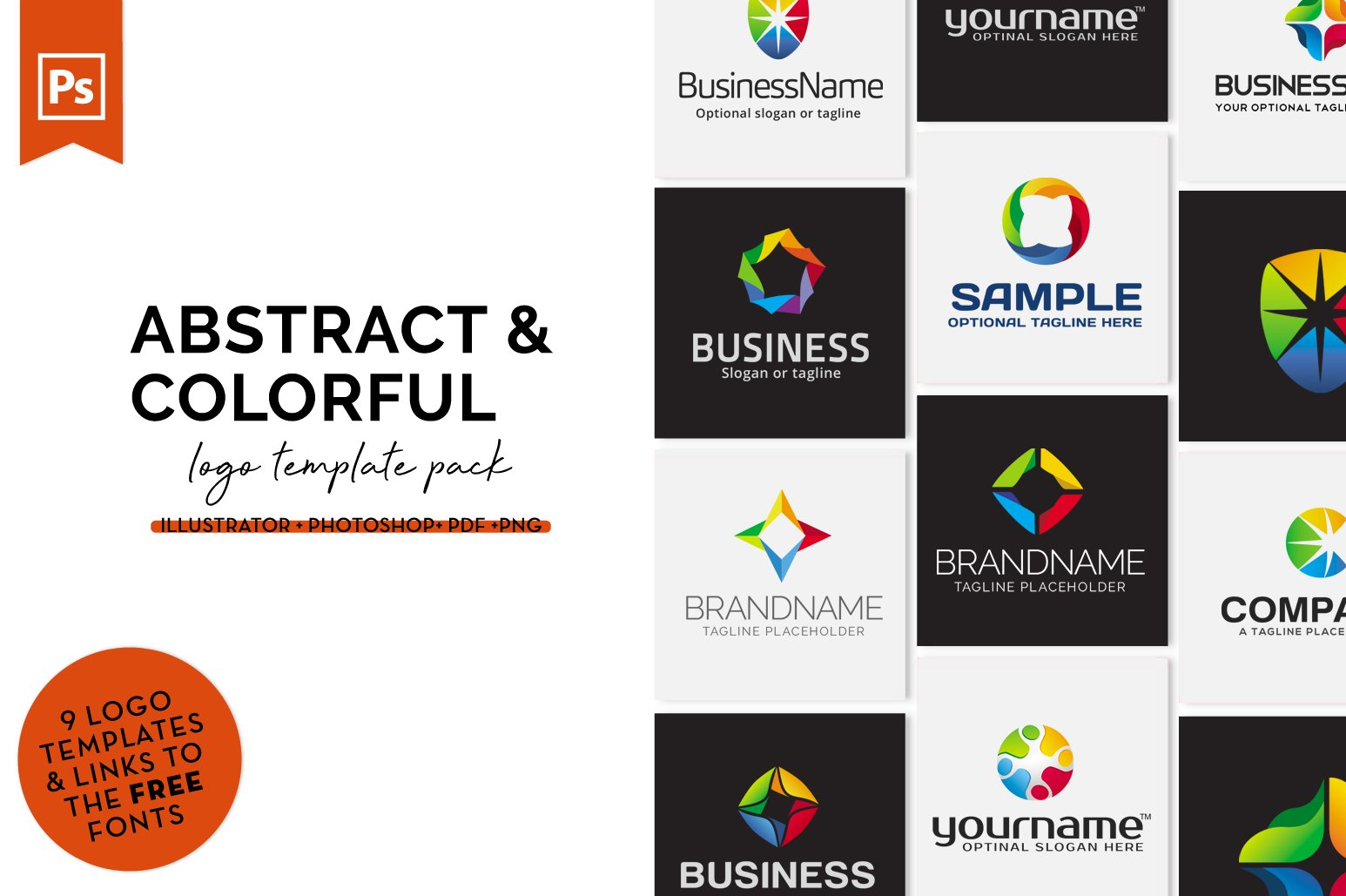 Abstract & Colorful Logo Design Set example image 1