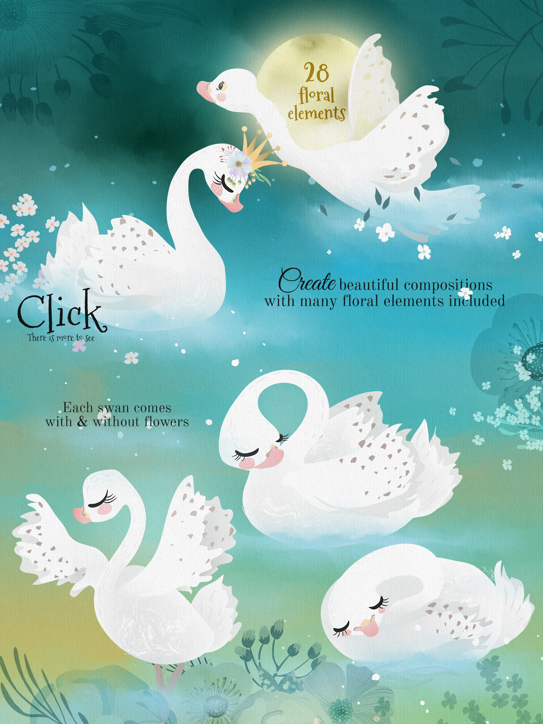 Romantic Swans Clipart example image 3