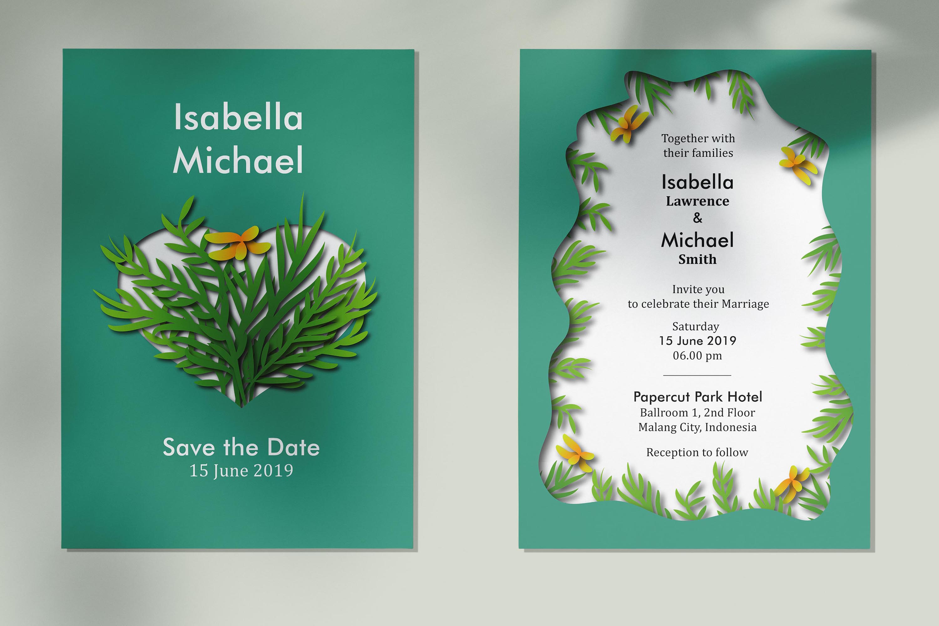Papercut Asymmetric Tulip Wedding Invitation Kit example image 1