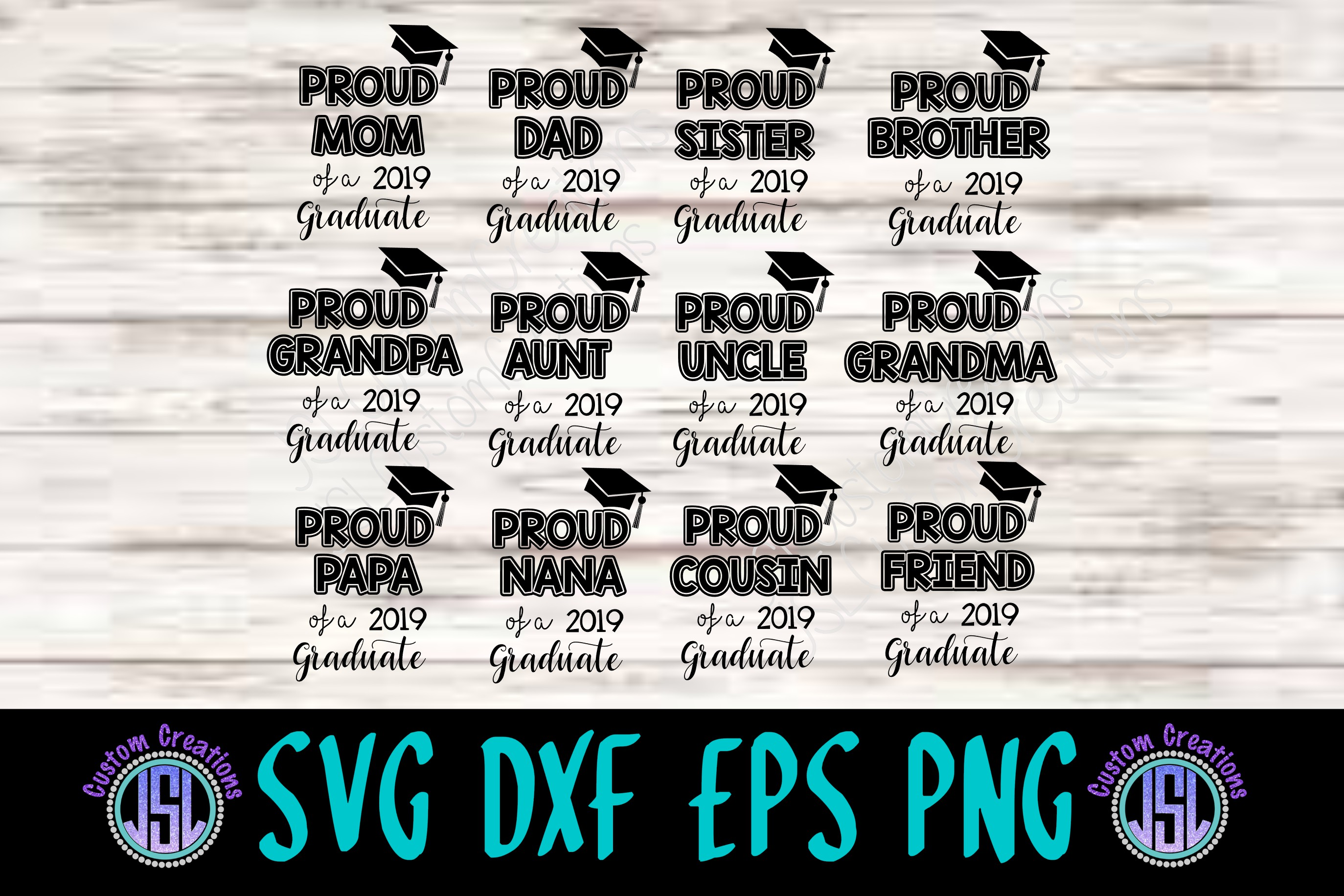 Proud of a 2019 Graduate Bundle Set of 12 | SVG DXF EPS PNG example image 1