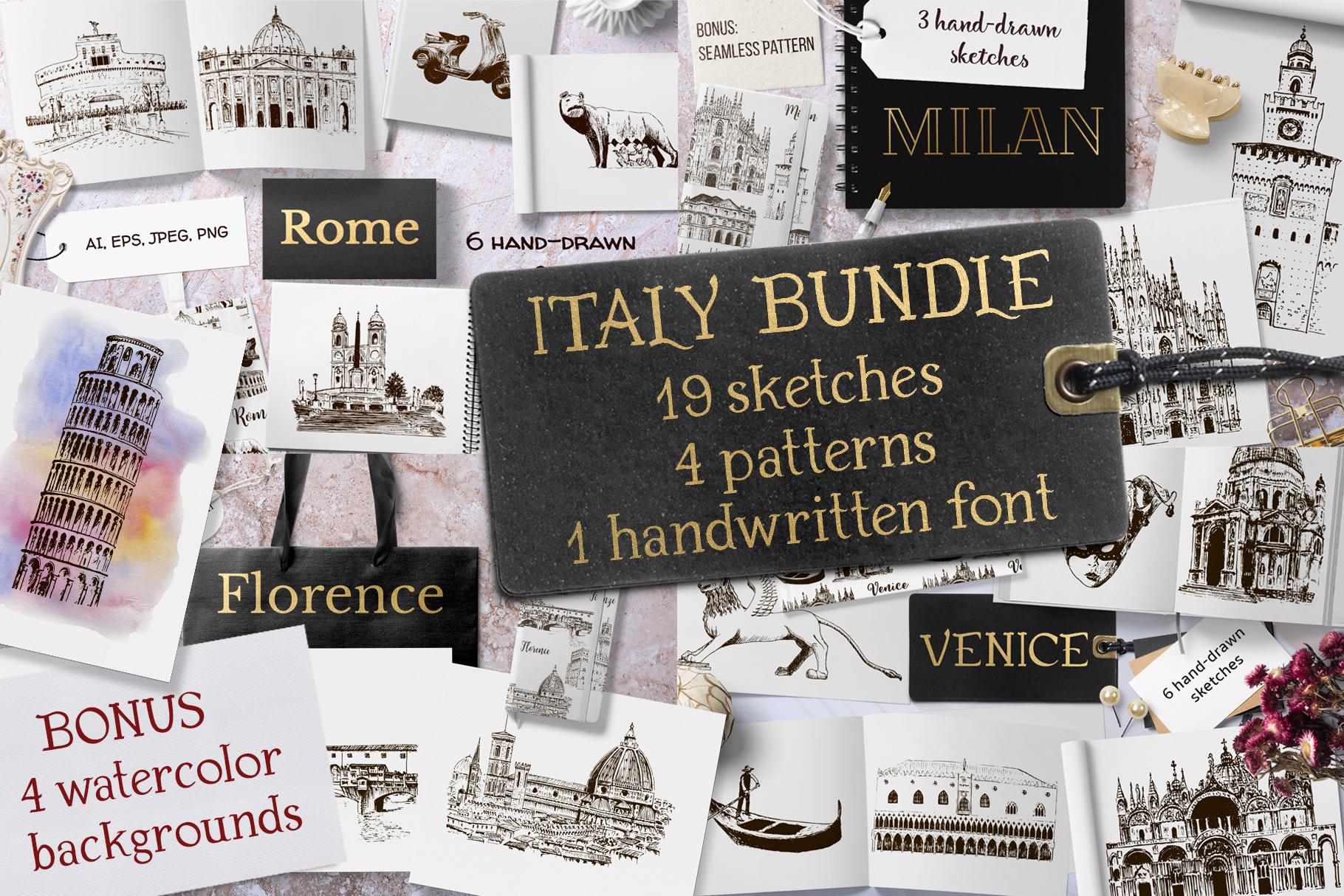 Italian sketches bundle example image 1