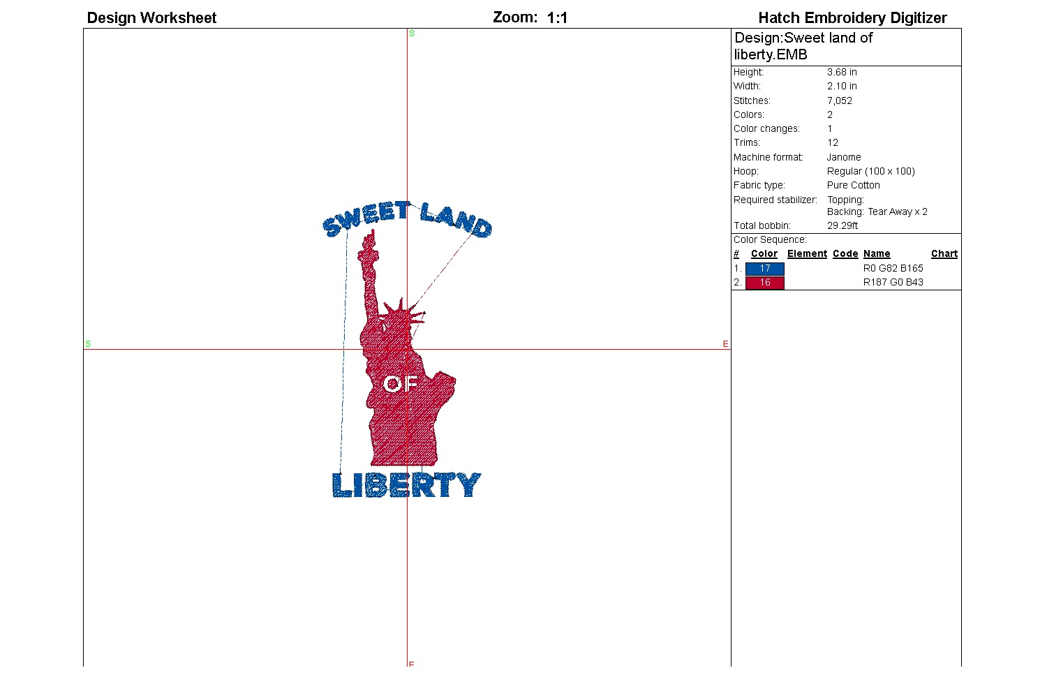 Sweet land of liberty| Independence day | Machine embroidery example image 2