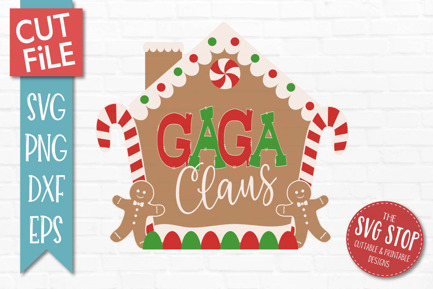 Gaga Claus Gingerbread Christmas SVG, PNG, DXF, EPS example image 1