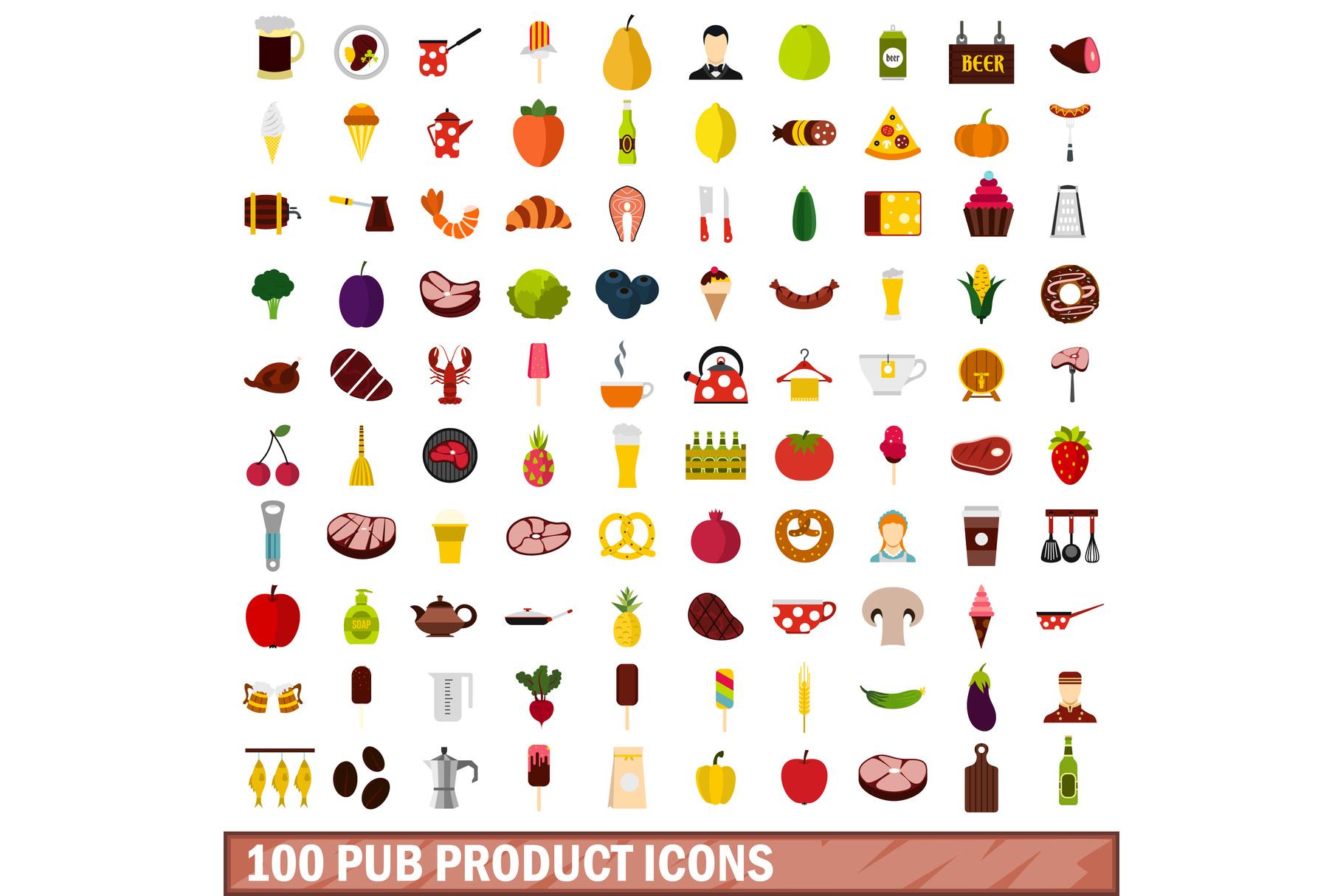 100 pub product icons set, flat style example image 1