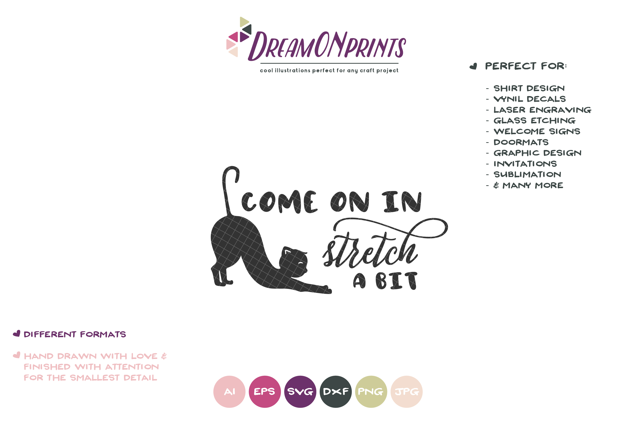Come on in | Welcome Sign Svg | Cat Yoga SVG example image 2