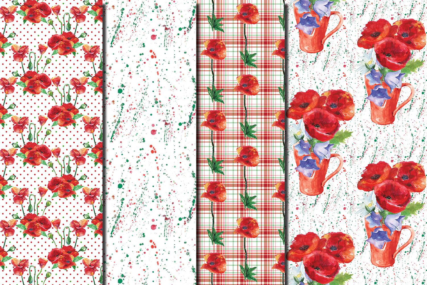 Watercolor Poppies seamless digital paper pack example image 4