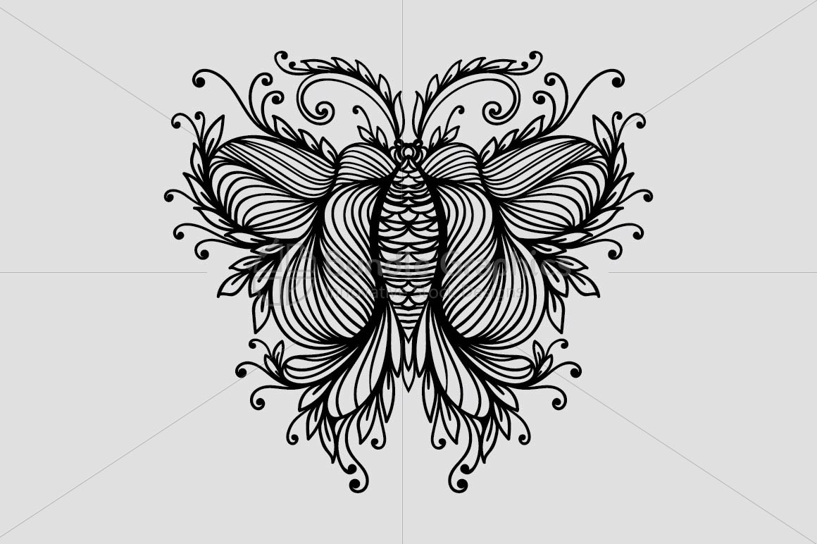 Symmetrical Linear Ornamental Style Butterfly example image 2