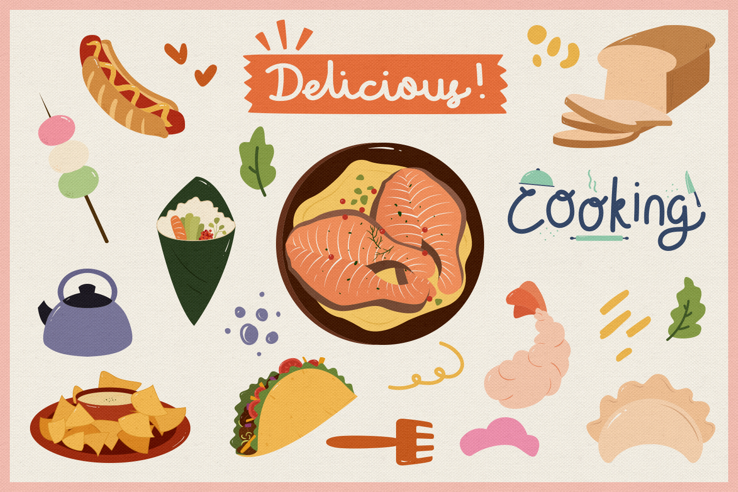 Food Vector Clipart & Seamless Patterns example image 3