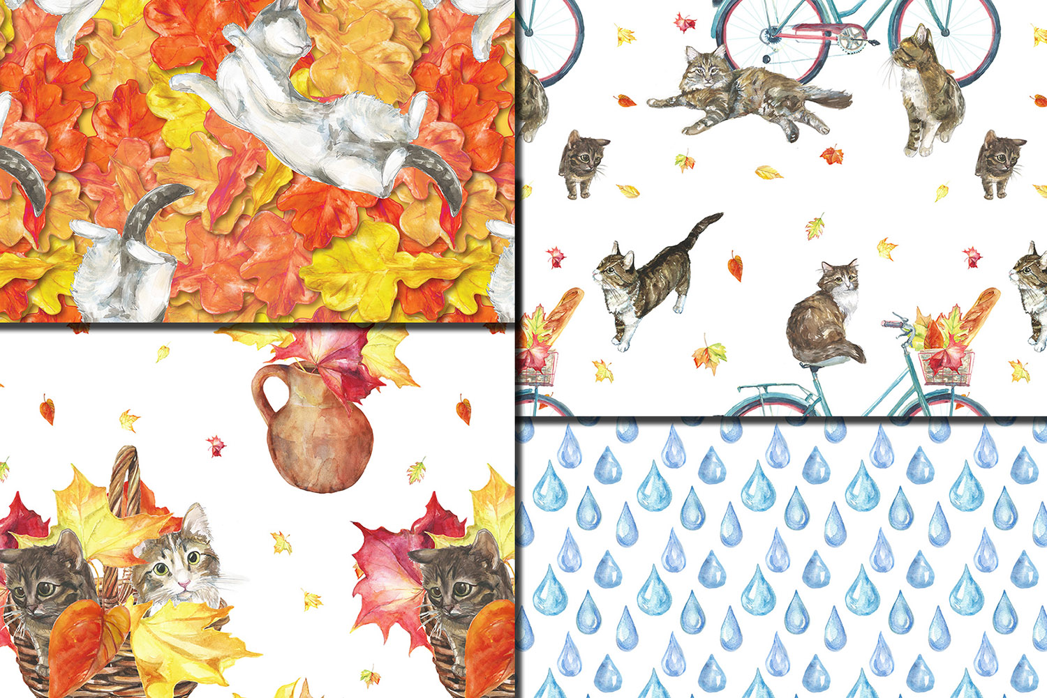 Watercolor Autumn Cats seamless patterns example image 4