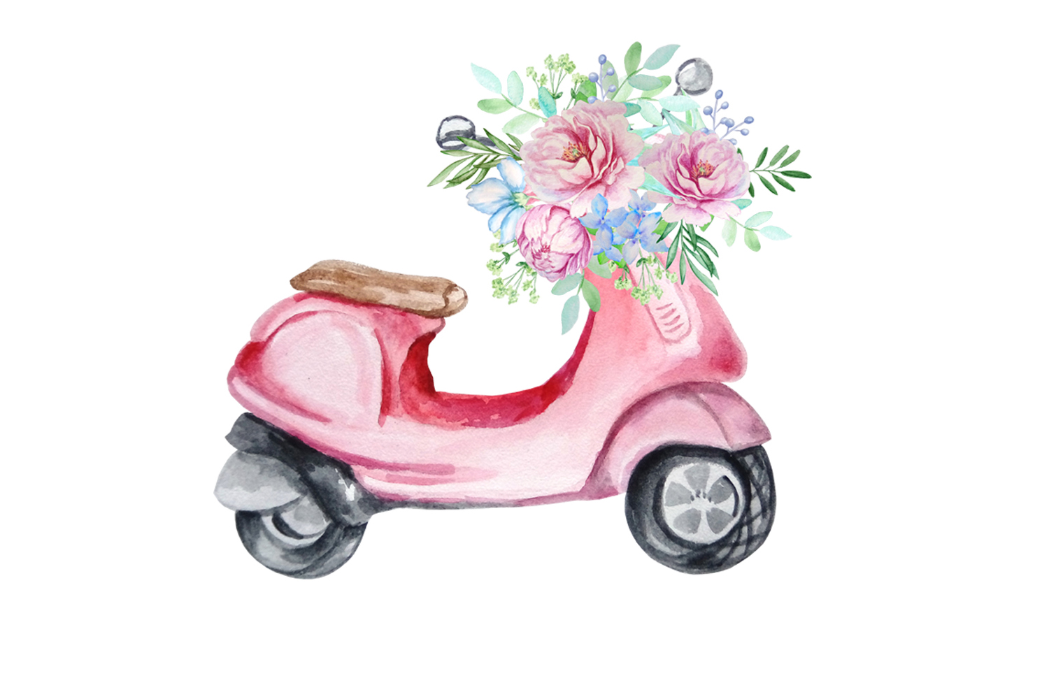 Watercolor Retro Red Moped Clipart Set example image 7