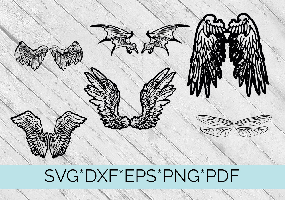 40 Sets of Wings Svg Cutting Files example image 4
