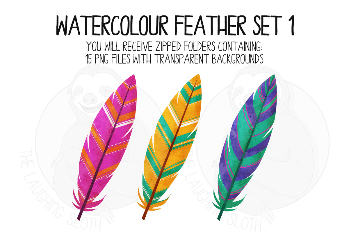 Watercolor Bright Feather Clip Art Set 1 example image 2