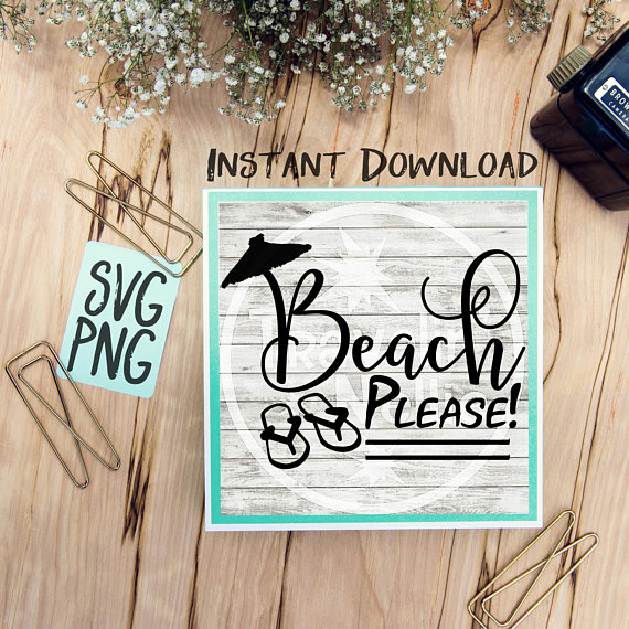 Beach Please SVG Beach Quote Humor Summer Time Flip Flops example image 1