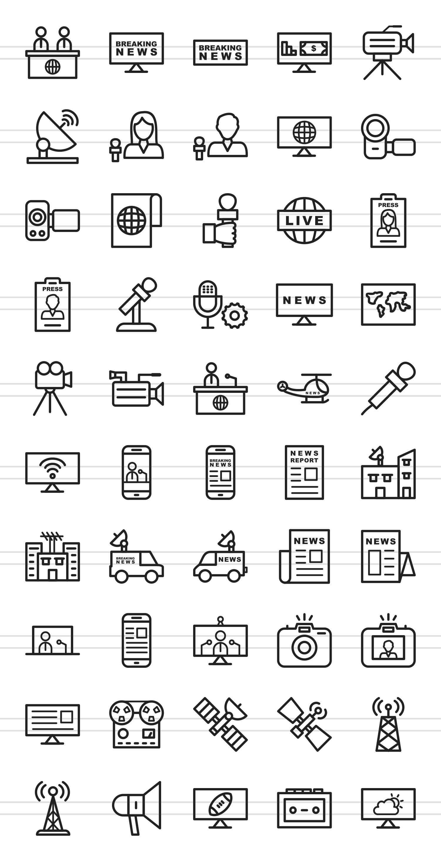 50 News & Media Line Icons example image 2