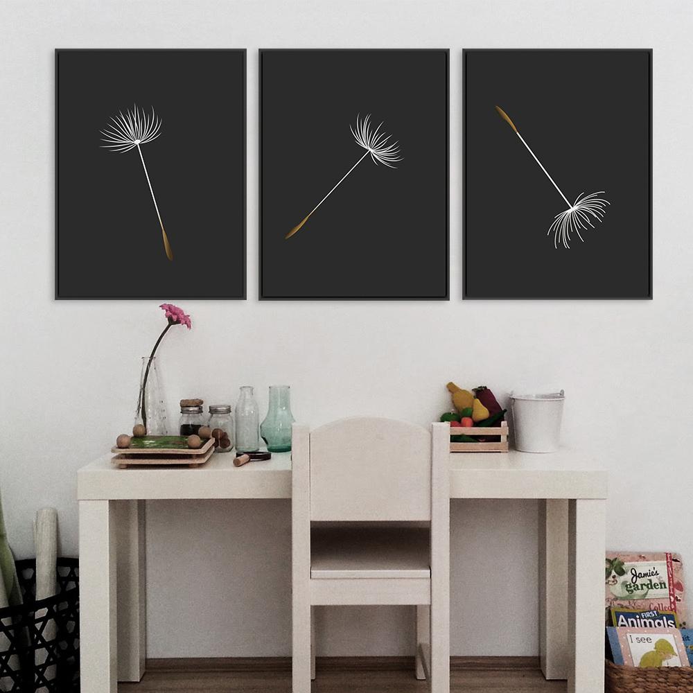 Dandelion Seed Print, Black Background Print, Botanical Art example image 2