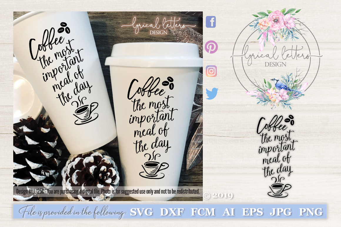 Coffee Most Important Meal of the Day SVG Cut File LL125C example image 1
