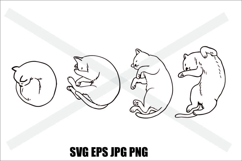 Cat Sleeping like Moon Phase- SVG EPS JPG example image 2