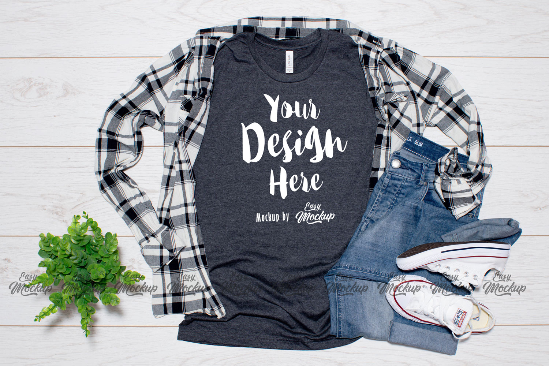 Heather Navy Bella Canvas 3001 T Shirt Mockup example image 1