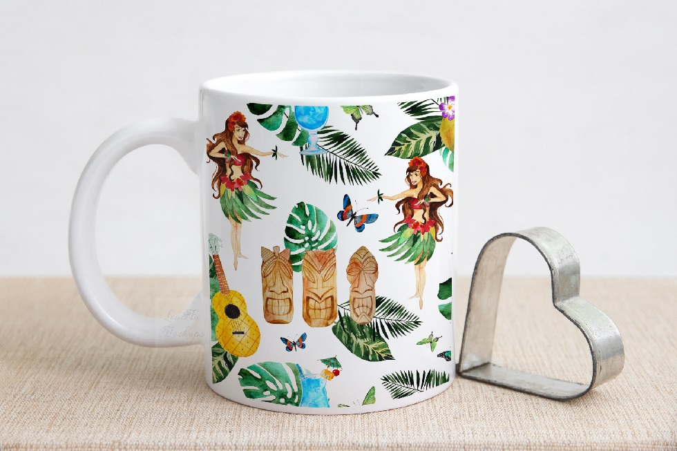 Valentine's white coffee mug mockup rustic sublimation mock example image 3