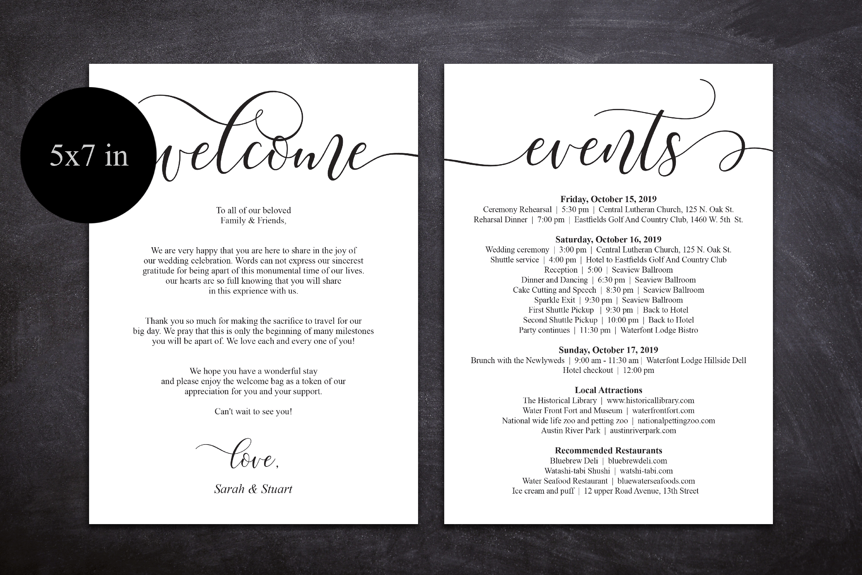 Wedding Welcome and Itinerary card, editable PDF template example image 3