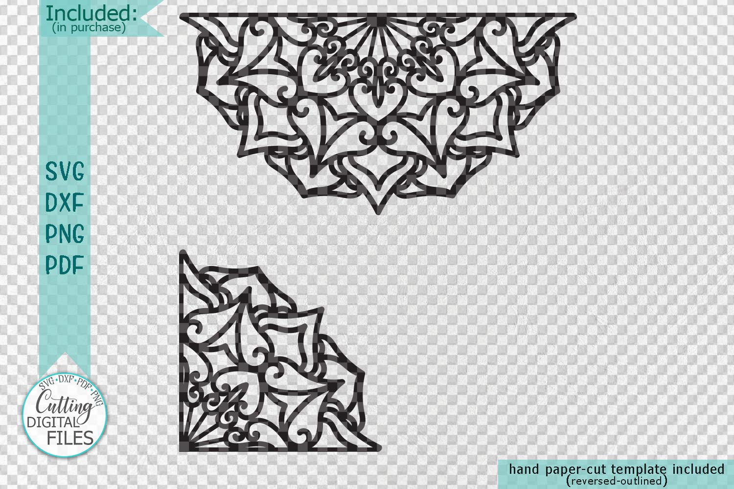 Mandala set corner half border plotter cut svg dxf templates example image 3