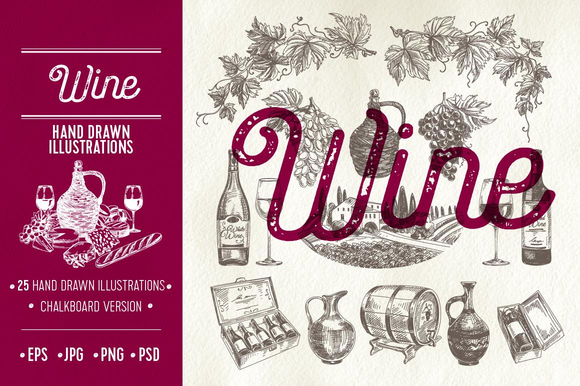 Hand drawn wine illustrations example image 1