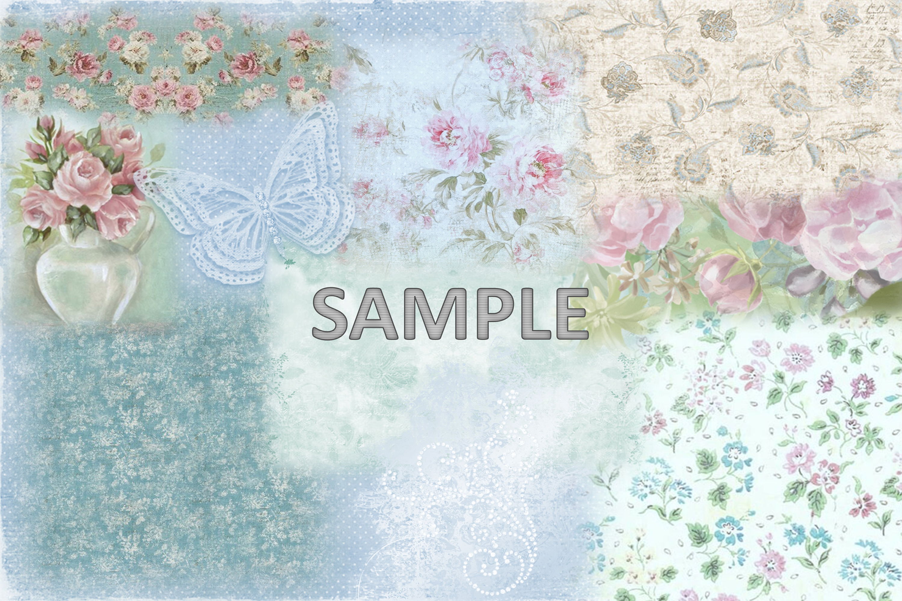 6 Shabby Chic Vintage Printable backgrounds PDF example image 4