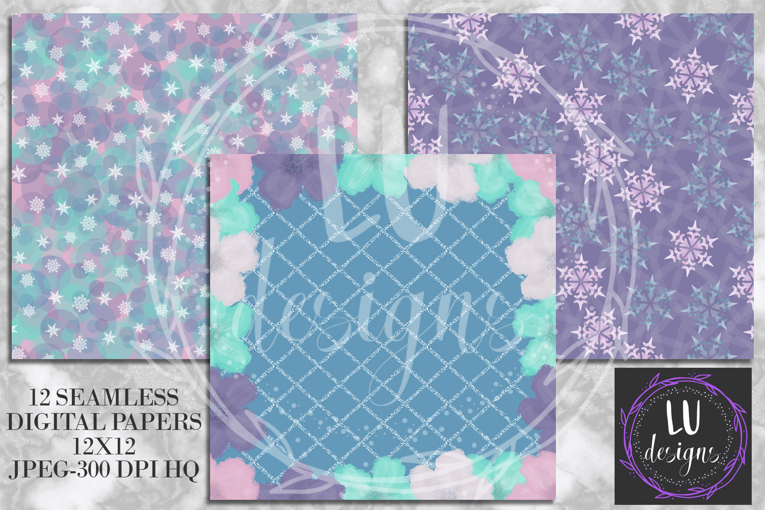 Winter Flowers Digital Papers, Winter Backgrounds example image 5