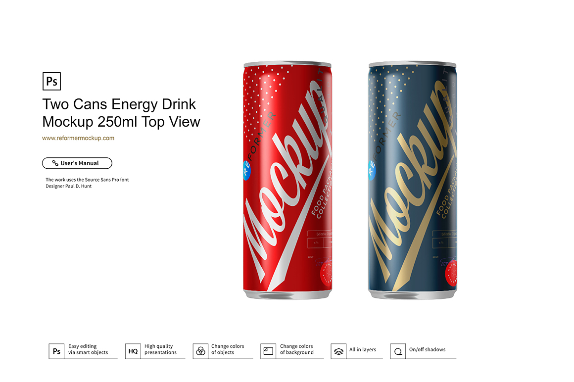 Two Cans Energy Drink Mockup 250ml Top View example image 2