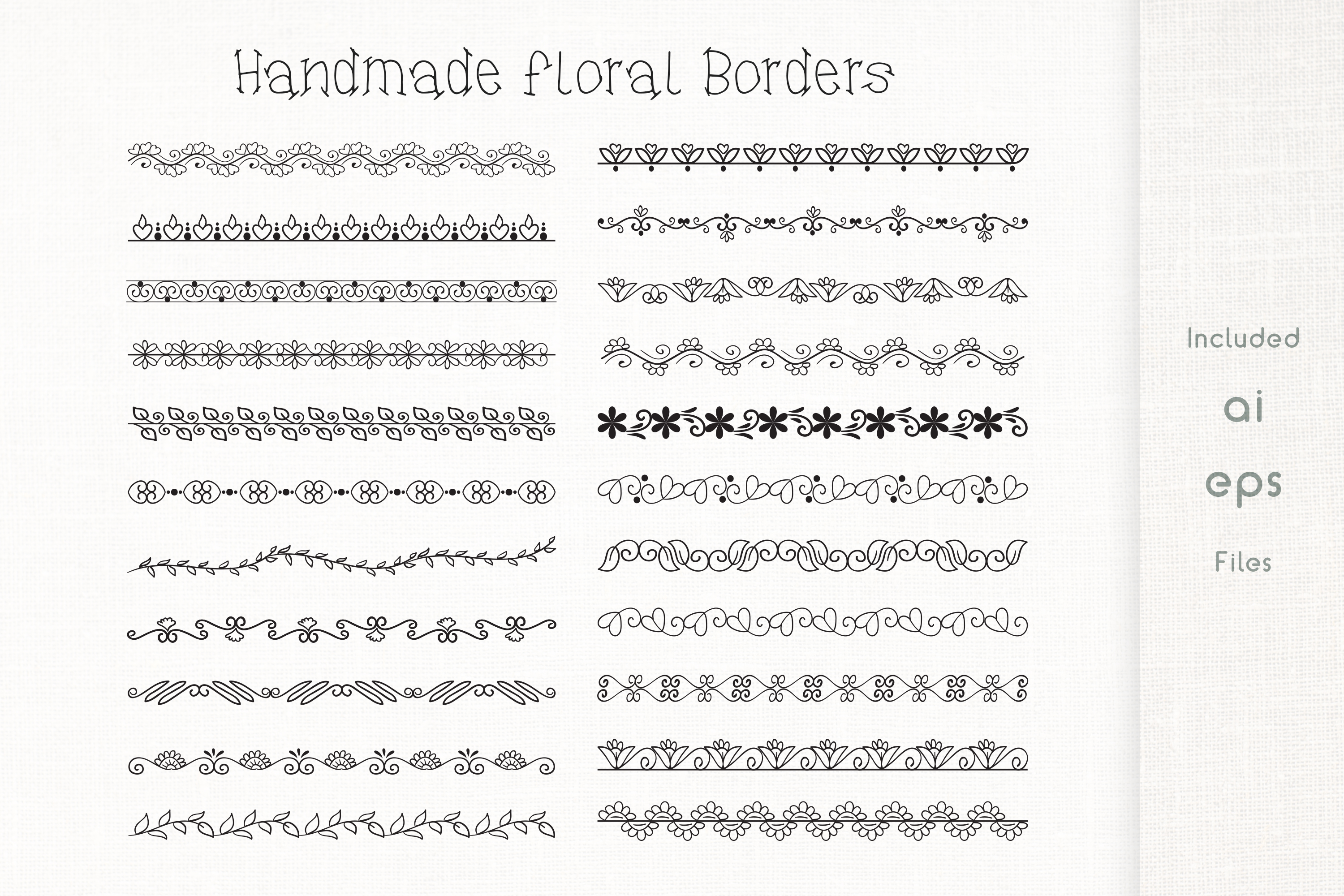 Handmade Floral Borders - Vector example image 1