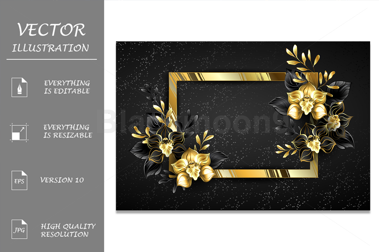Golden Banner with Black Orchids example image 1