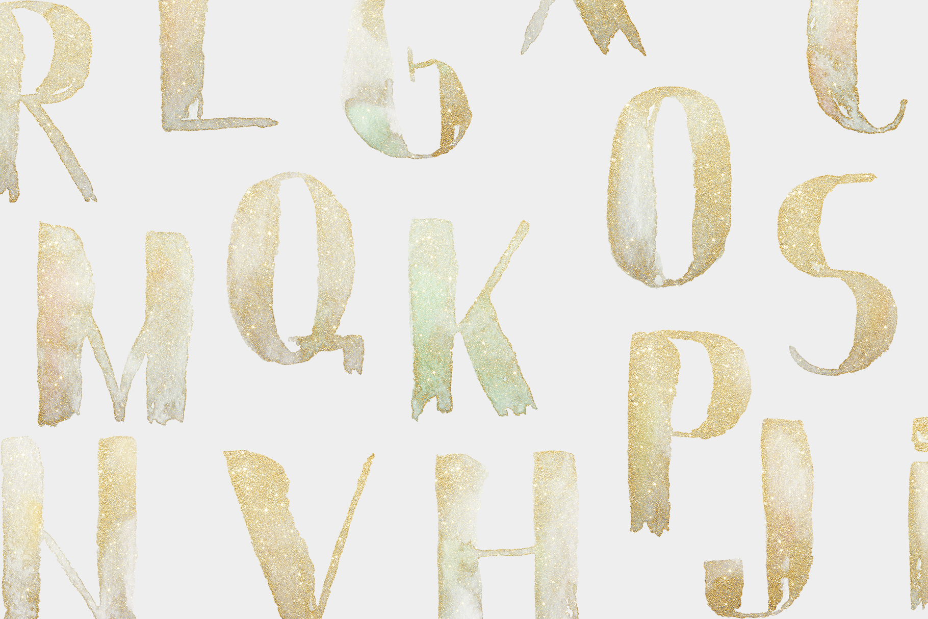 Gold watercolor letters, hand painted glitter alphabet example image 2