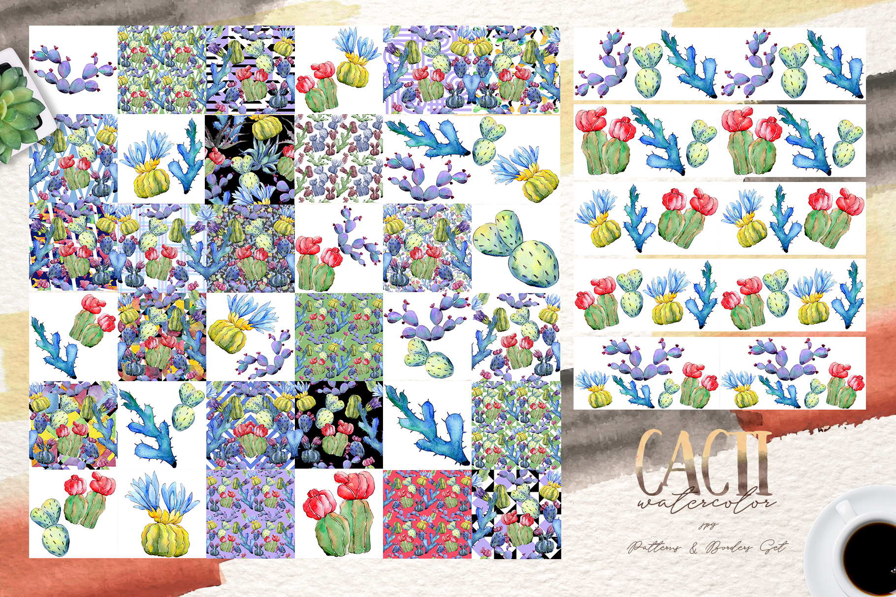 Cool colorful cacti PNG watercolor set example image 7