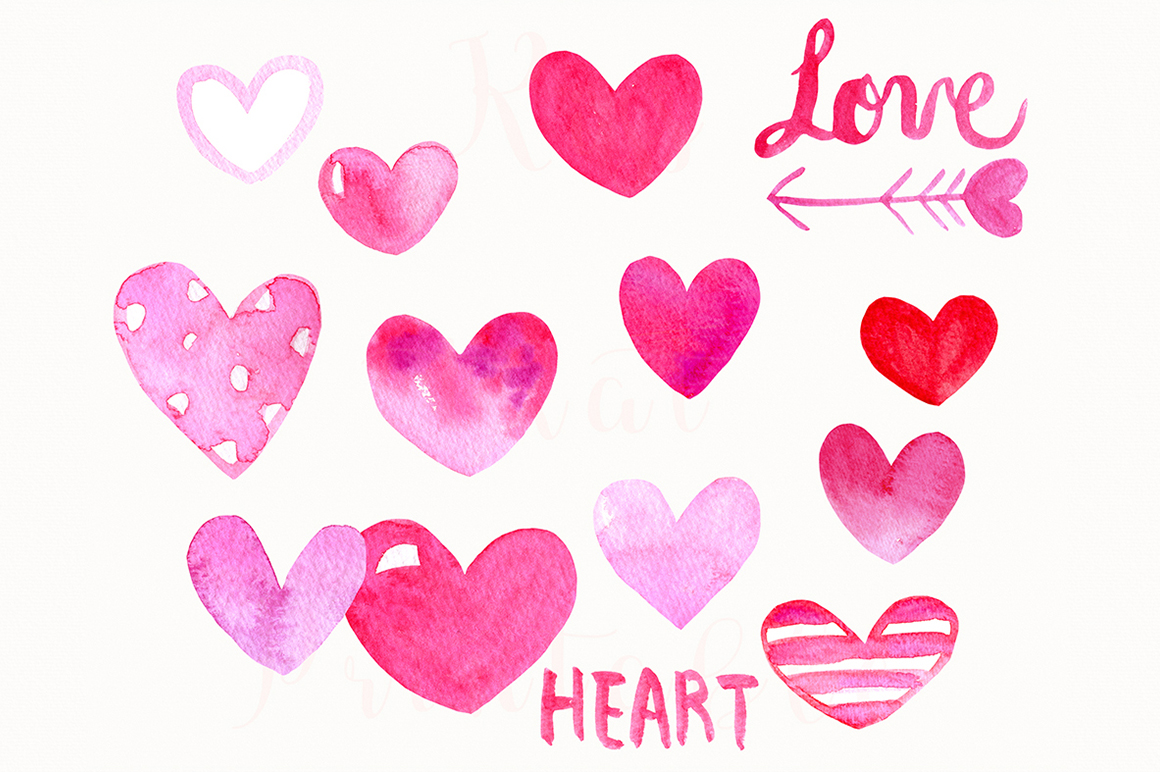 15 Watercolor Pink Hearts example image 1