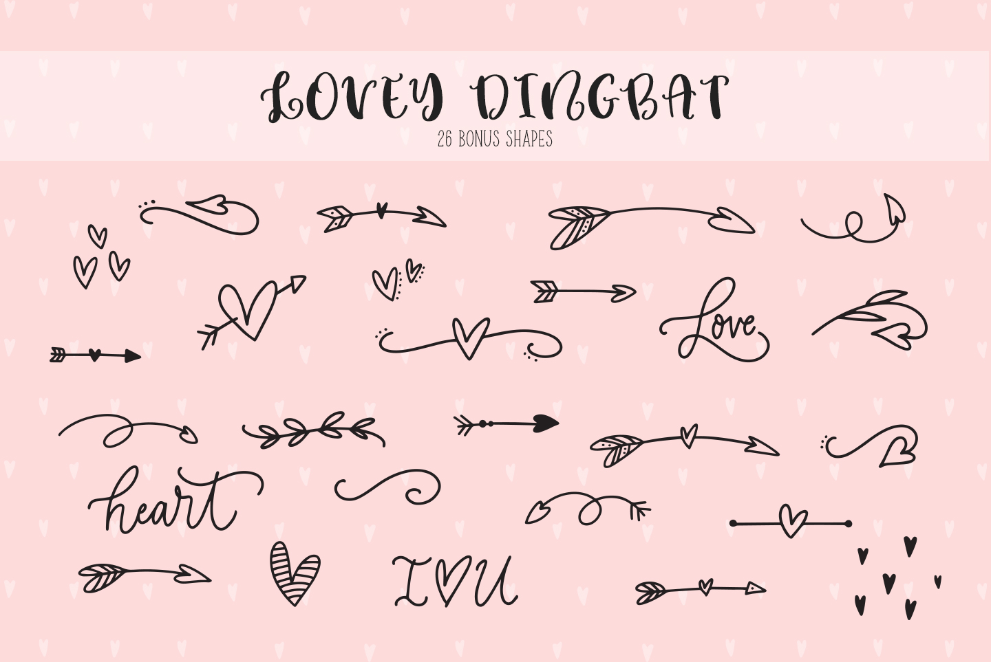 Lovey cute valentines heart font family example image 3