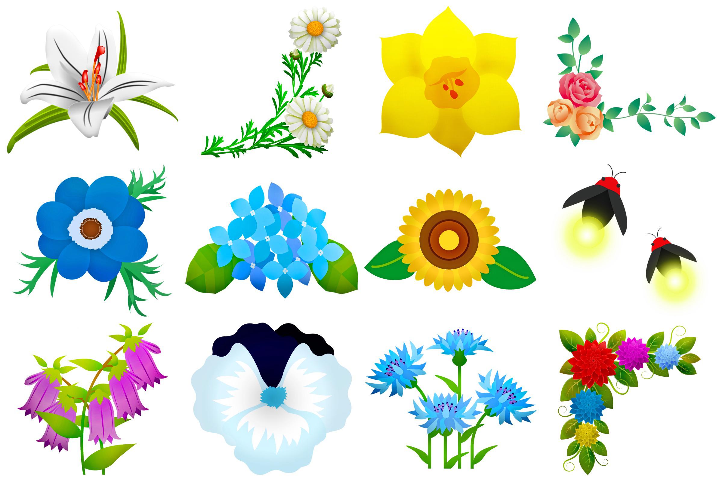 Summer Florals & Elements Clip Art example image 3