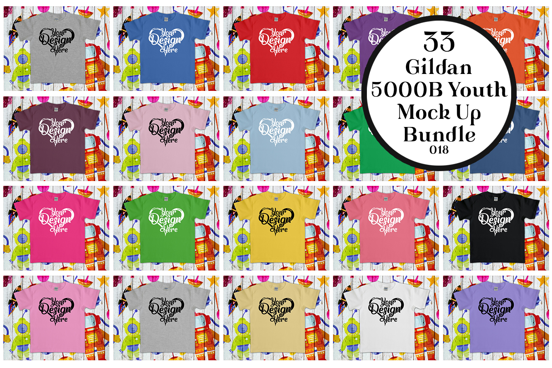 33 Gildan 5000B Youth Mockups Bundle example image 1