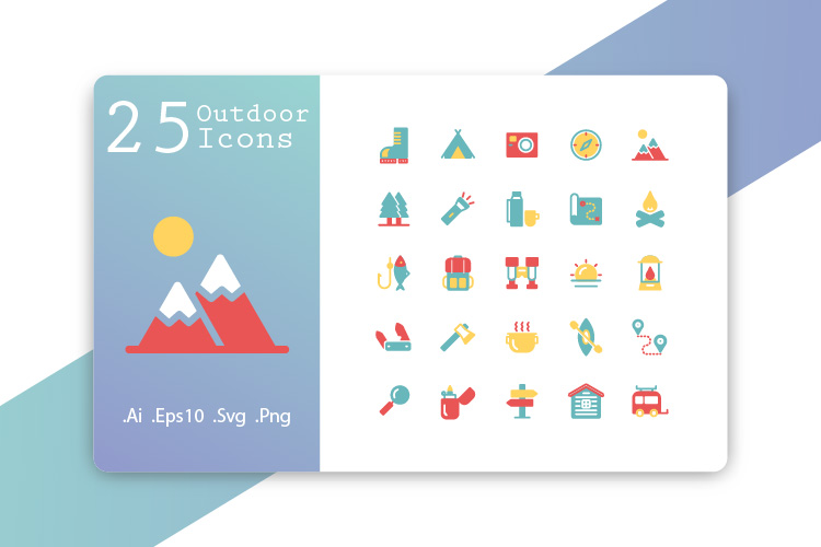 25 Outdoor Icons Flat Design example image 1