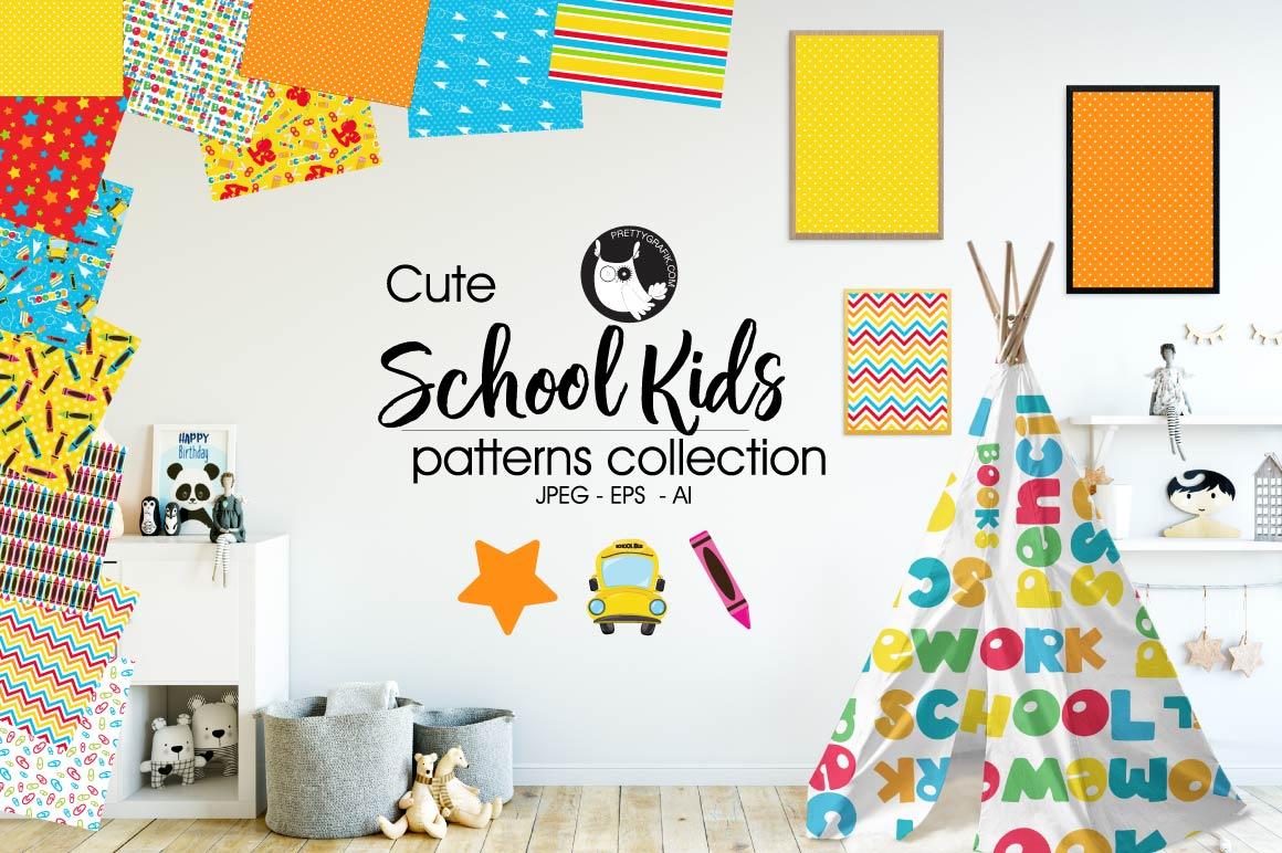 SCHOOL-KIDS, digital papers example image 1