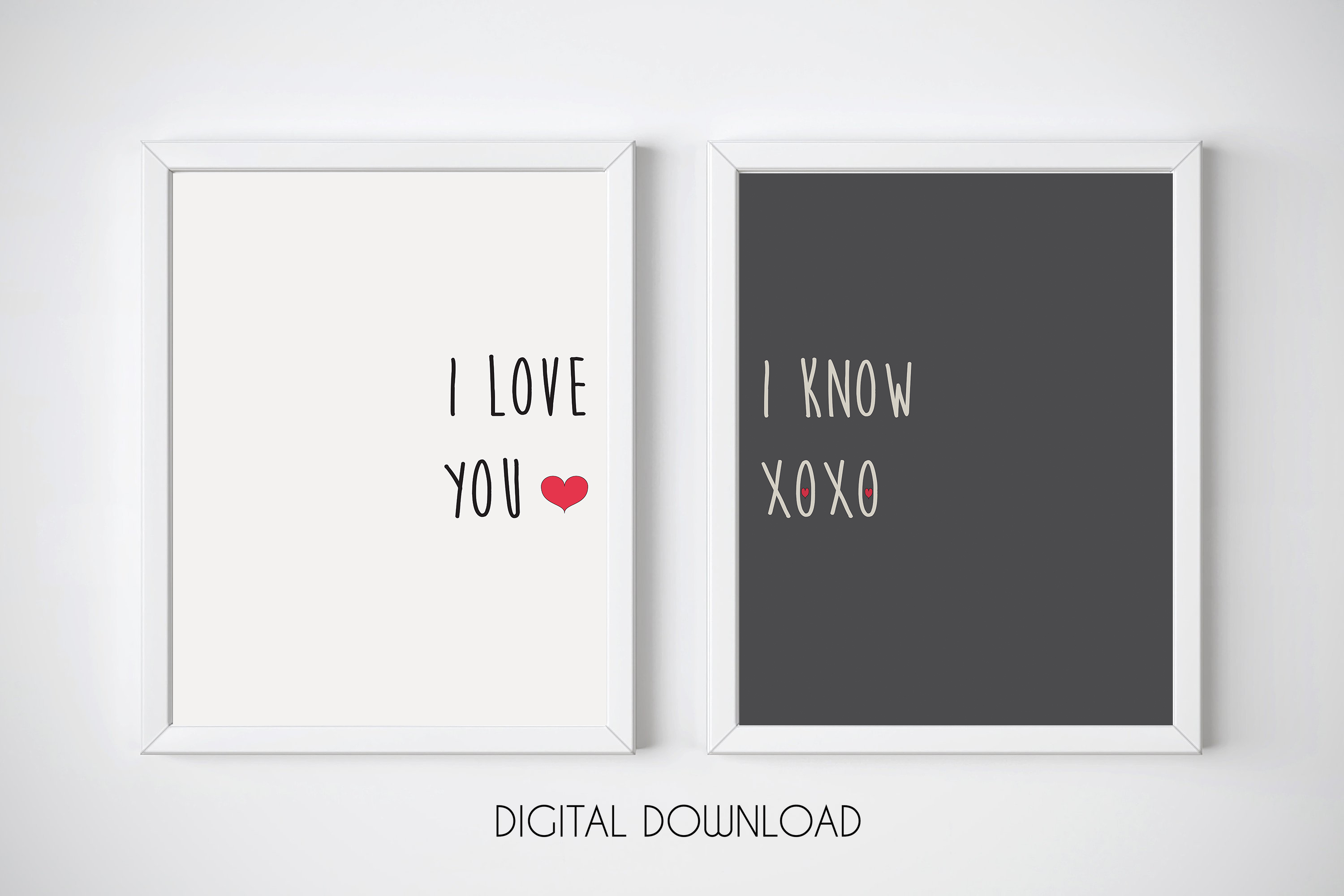 Monochrome Wall Art, I Love You I Know Print, Typography Art example image 1