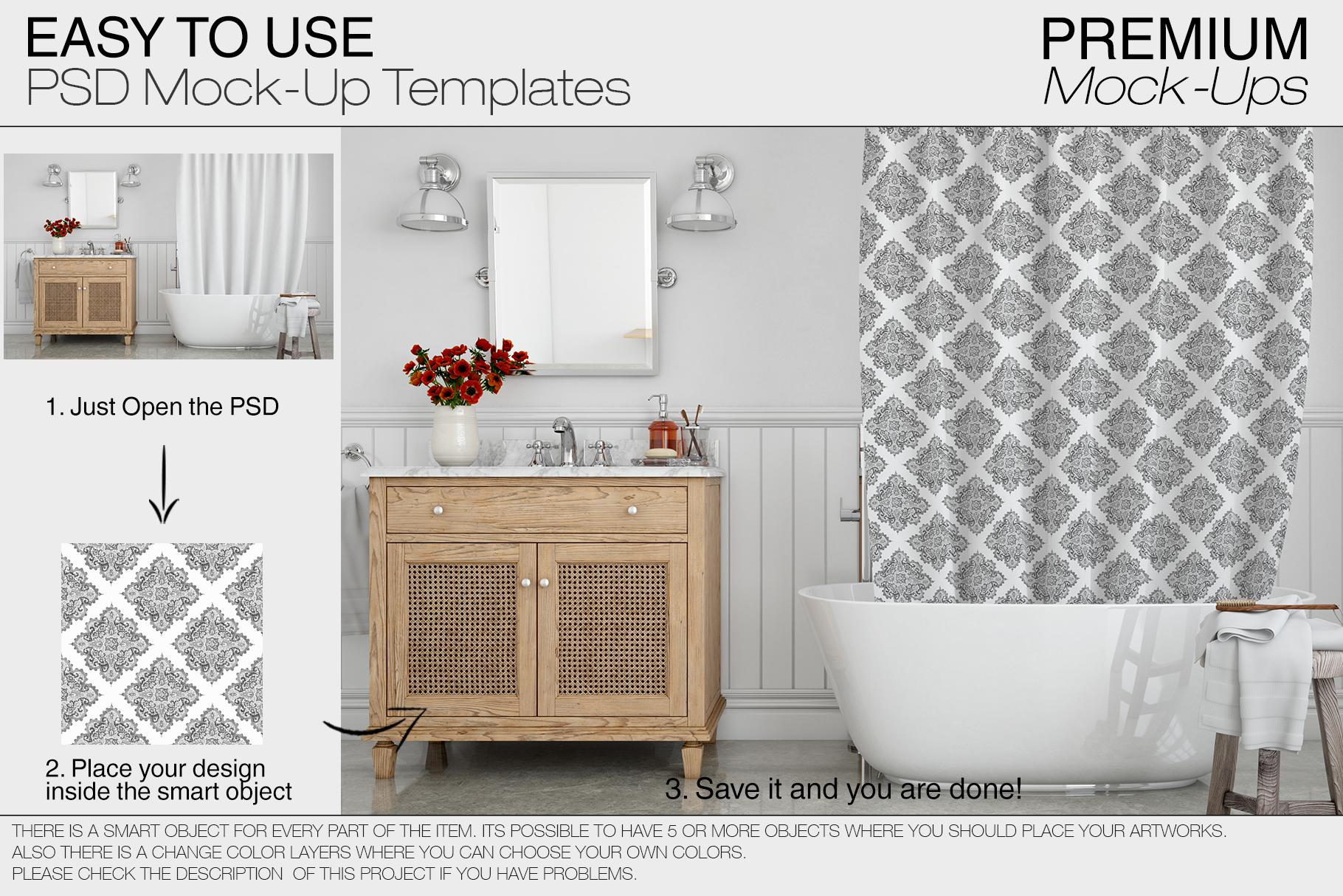 Bath Curtain Mockup Pack example image 3