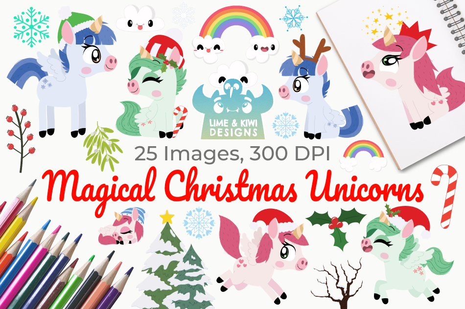 Magical Christmas Unicorns Clipart, Instant Download example image 1
