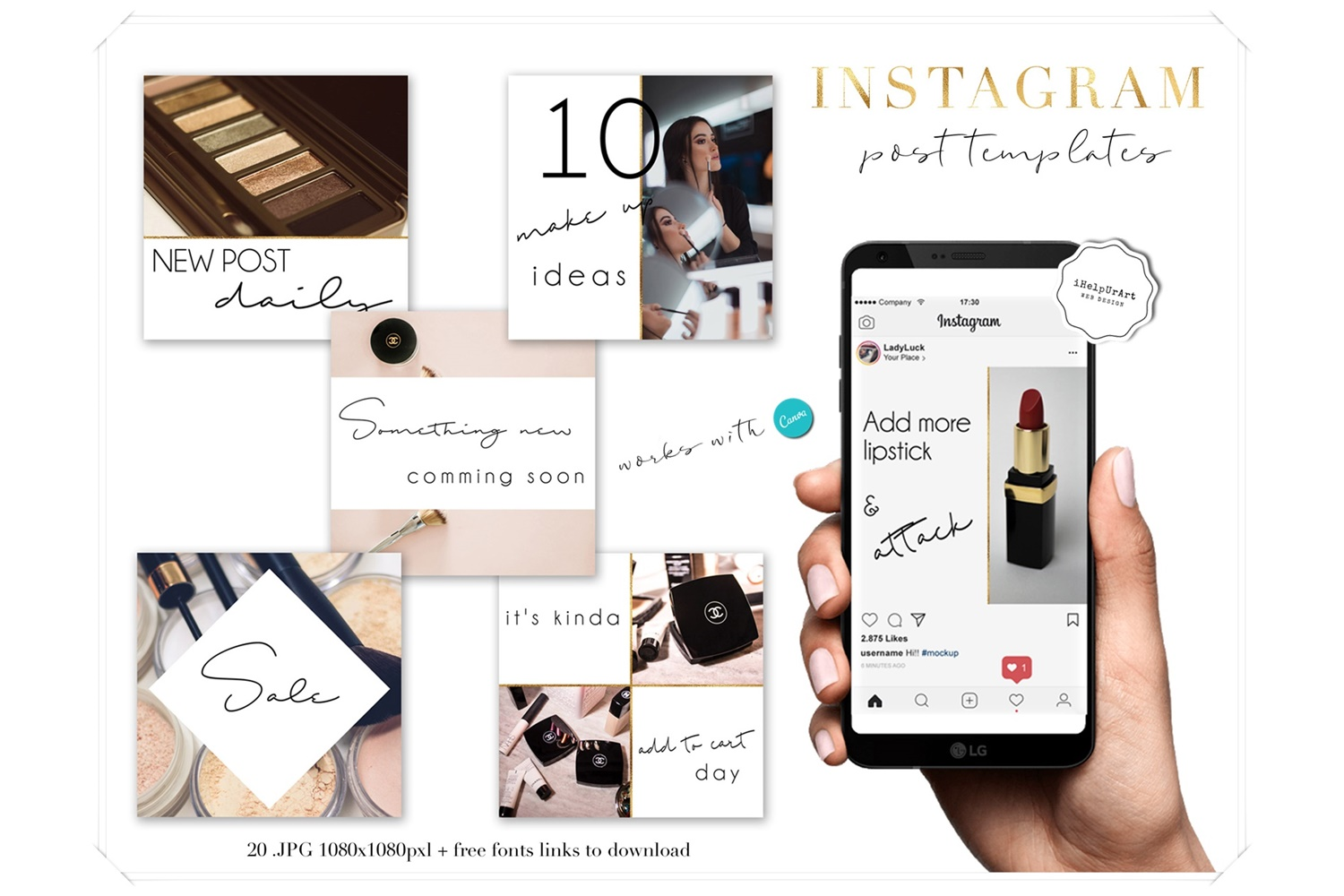Beauty Blogger Instagram Posts Templates example image 1