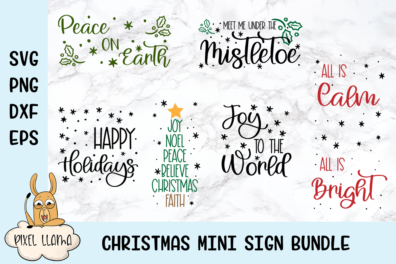 Mini Christmas Sign Bundle of 6 SVGs example image 1