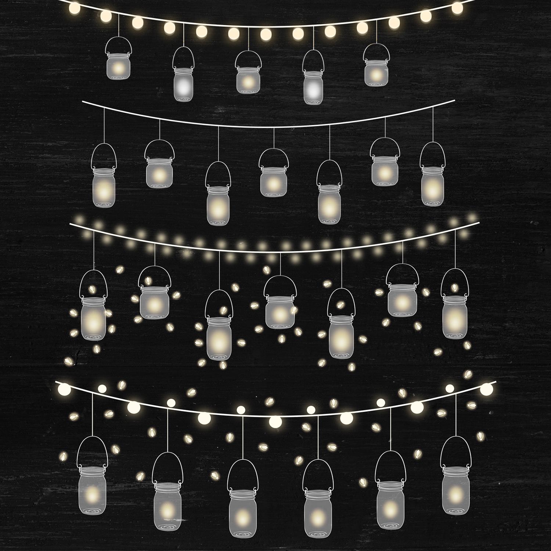 String Lights Clipart, Mason Jar Lights Overlays example image 3