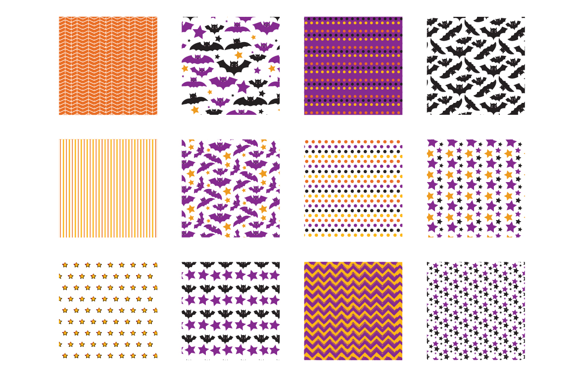 Halloween bats Pattern collection, vector ai, eps and example image 2