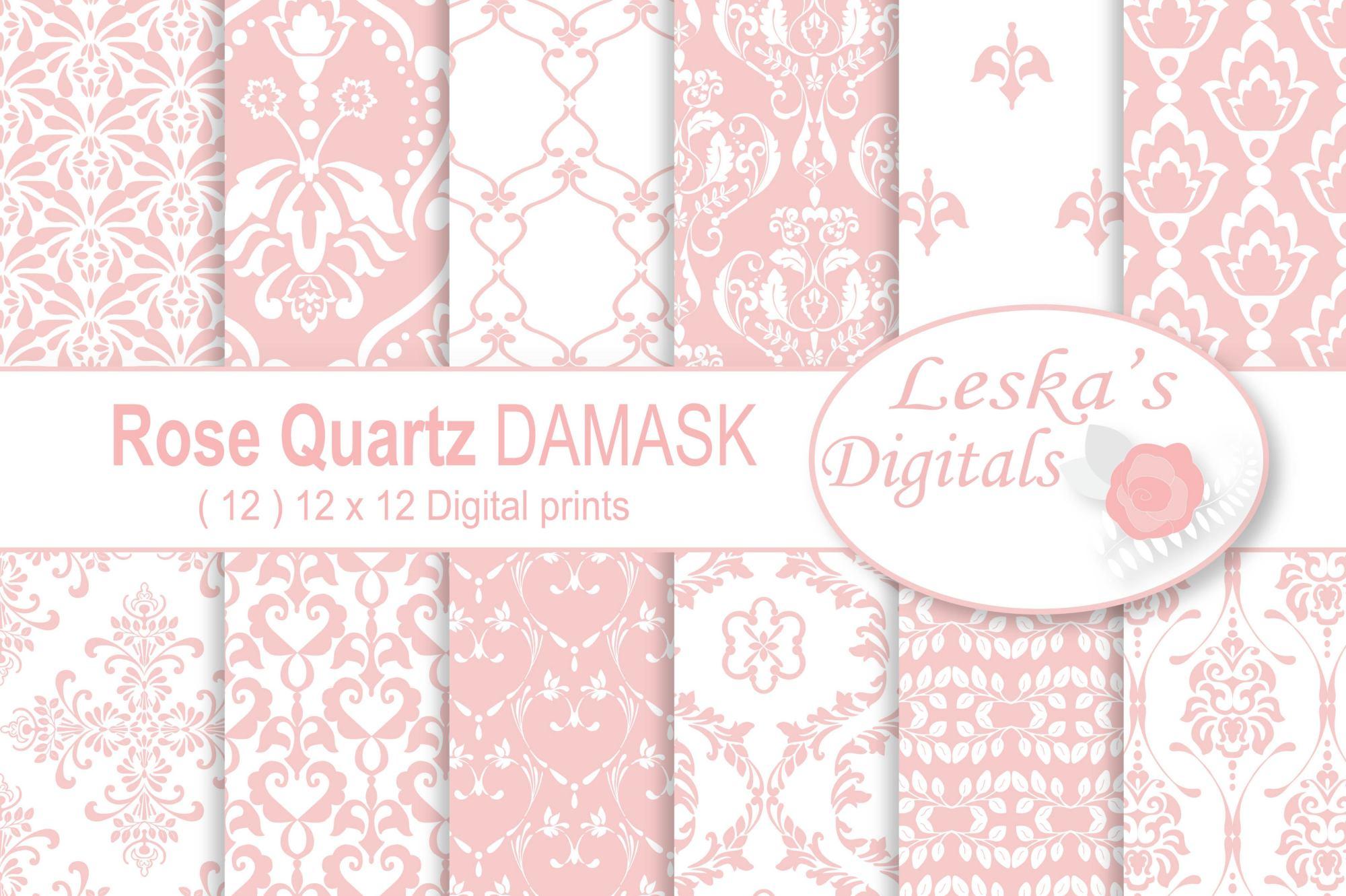 Pink Damask Digital Paper example image 1