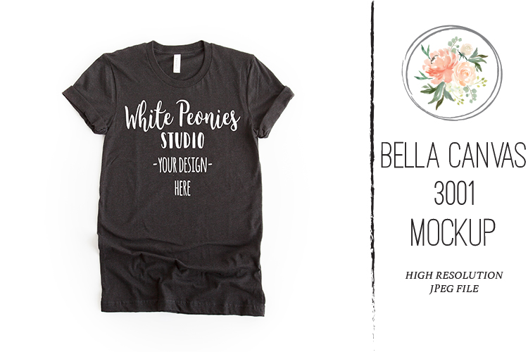 Heather Black Bella Canvas 3001 Shirt Mockup example image 1