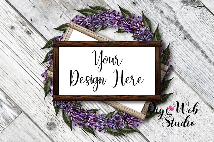 Flat Lay Wood Signs Mockup - Rectangle Wood Frames on Wreath example image 1