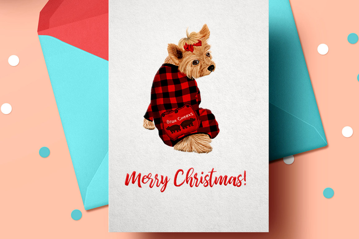 Watercolor Christmas Family Clipart, Christmas cards designs example image 2